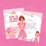 Uitnodiging prinsessenfeest, 10 stuks
