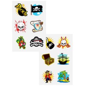 Piraten tatoeage, 1 vel met 6 afbeeldingen